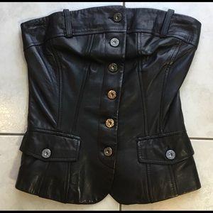 Vintage Black Leather Corset Danier Leather XXS